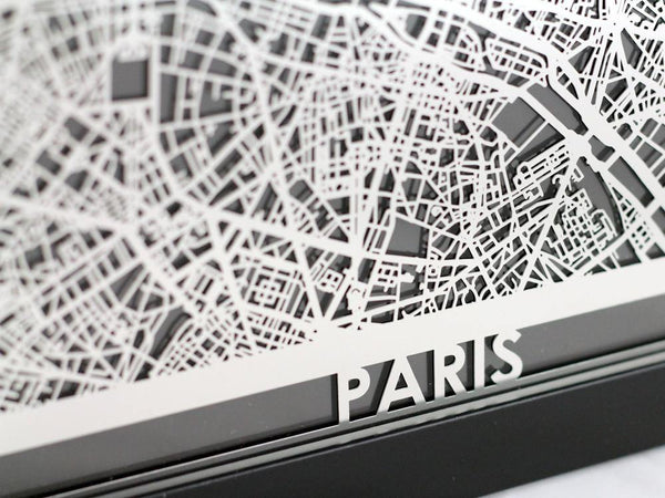 "Paris - Stainless Steel Map - 5""x7"" - Cool Cut Map Gift"
