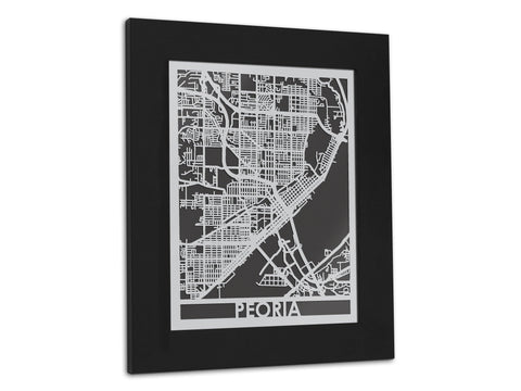 "Peoria - Stainless Steel Map - 11"" x 14"" - Cool Cut Map Gift"