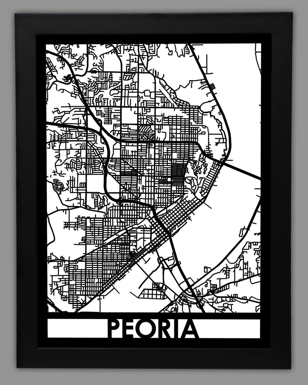 Peoria - Cool Cut Map Gift