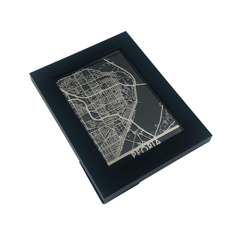 "Peoria - Stainless Steel Map - 5""x7"""