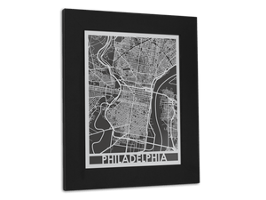 "Philadelphia - Stainless Steel Map - 11"" x 14"" - Cool Cut Map Gift"