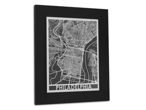 "Philadelphia - Stainless Steel Map - 11"" x 14"" - Cut Maps - 1"
