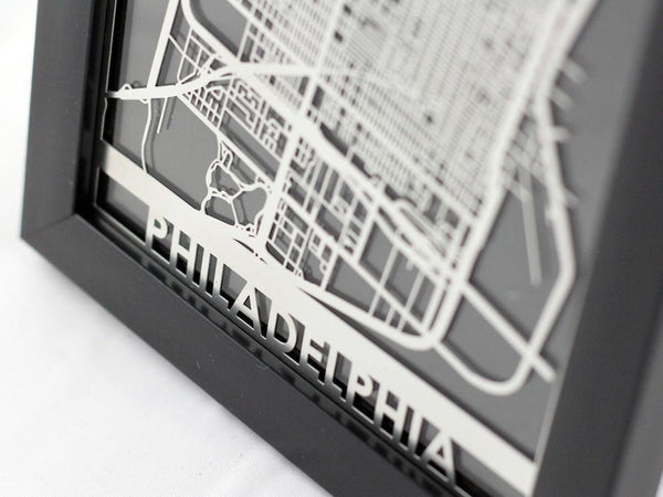 "Philadelphia - Stainless Steel Map - 5""x7"" - Cool Cut Map Gift"