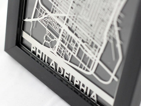 "Philadelphia - Stainless Steel Map - 5""x7"" - Cut Maps - 1"