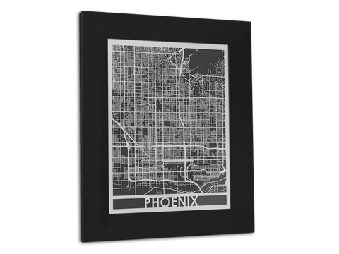 "Phoenix - Stainless Steel Map - 11"" x 14"" - Cool Cut Map Gift"
