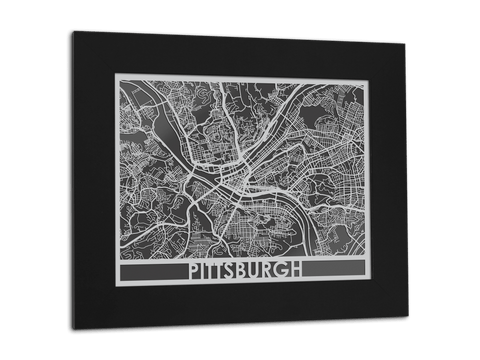 "Pittsburgh - Stainless Steel Map - 11"" x 14"" - Cut Maps - 1"