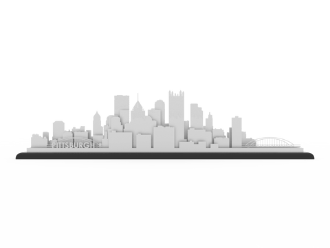 Pittsburgh Stainless Steel Skyline - Cool Cut Map Gift