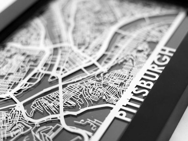 "Pittsburgh - Stainless Steel Map - 5""x7"" - Cool Cut Map Gift"