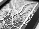 "Pittsburgh - Stainless Steel Map - 5""x7"" - Cut Maps - 1"