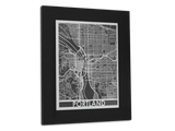 "Portland - Stainless Steel - 11"" x 14"" - Cool Cut Map Gift"