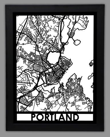 Portland, Maine - Cool Cut Map Gift