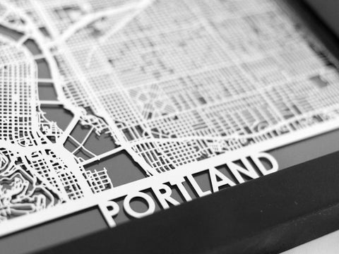 "Portland - Stainless Steel Map - 5""x7"" - Cool Cut Map Gift"