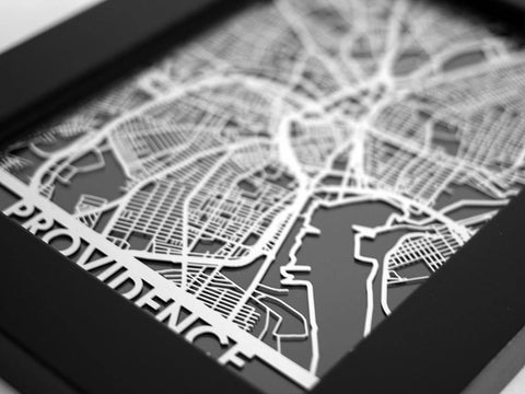 "Providence - Stainless Steel Map - 5""x7"" - Cut Maps - 1"