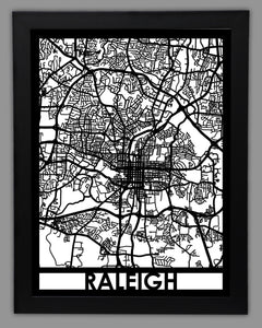 Raleigh - Cool Cut Map Gift