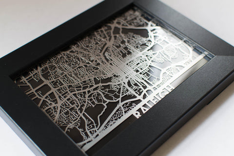 "Raleigh - Stainless Steel Map - 5""x7"" - Cool Cut Map Gift"
