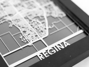 "Regina - Stainless Steel Map - 5""x7"" - Cool Cut Map Gift"