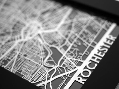 "Rochester - Stainless Steel Map - 5""x7"" - Cool Cut Map Gift"