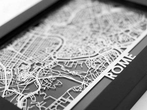 "Rome - Stainless Steel Map - 5""x7"" - Cool Cut Map Gift"