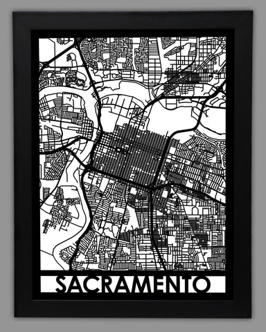 Sacramento - Cool Cut Map Gift