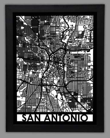 San Antonio - Cool Cut Map Gift