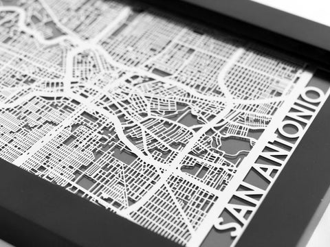 "San Antonio - Stainless Steel Map - 5""x7"" - Cut Maps - 1"