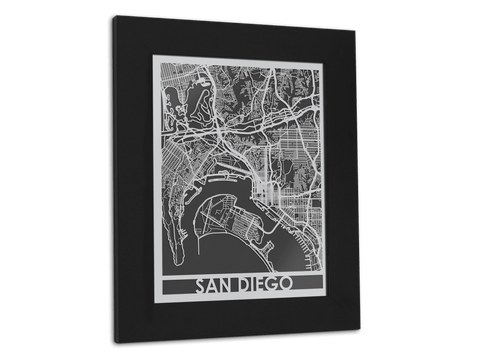 "San Diego - Stainless Steel Map - 11"" x 14"" - Cut Maps - 1"