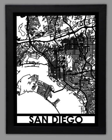 San Diego - Cool Cut Map Gift