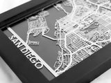"San Diego - Stainless Steel Map - 5""x7"" - Cut Maps - 1"