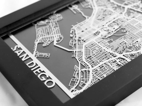 San Diego Map City.Metal Wall Art San Diego City Map Cut Maps