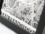 "San Francisco - Stainless Steel Map - 5""x7"" - Cool Cut Map Gift"