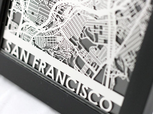 Metal Wall Art San Francisco City Map Cut Maps Cut Maps