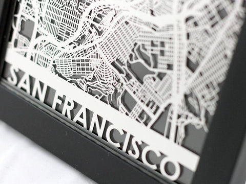 "San Francisco - Stainless Steel Map - 5""x7"" - Cut Maps - 1"