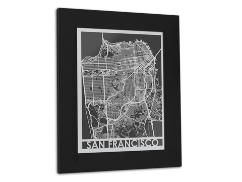 "San Francisco - Stainless Steel Map - 11"" x 14"" - Cut Maps - 1"
