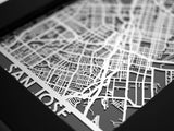 "San Jose - Stainless Steel Map - 5""x7"" - Cut Maps - 1"