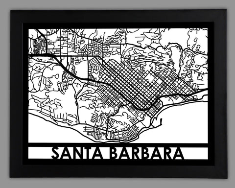 Santa Barbara - Cool Cut Map Gift