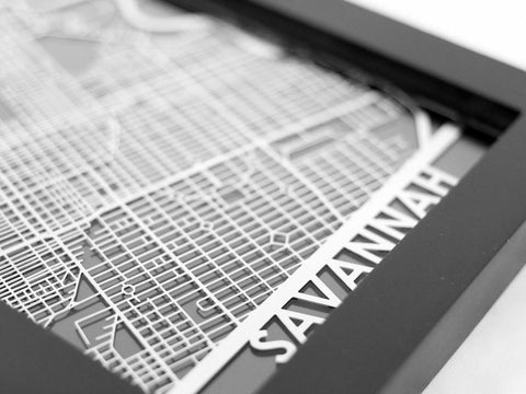 "Savannah - Stainless Steel Map - 5""x7"" - Cool Cut Map Gift"