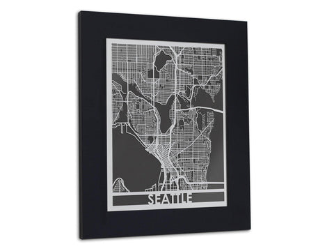 "Seattle | Stainless Steel Map | 11"" x 14"" - Cut Maps - 1"
