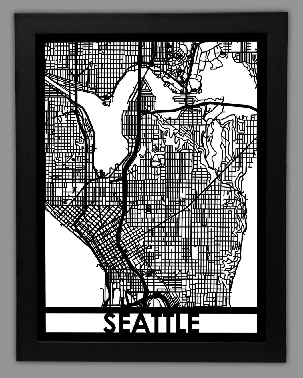 Seattle - Cool Cut Map Gift