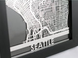 "Seattle - Stainless Steel Map - 5""x7"" - Cut Maps - 1"