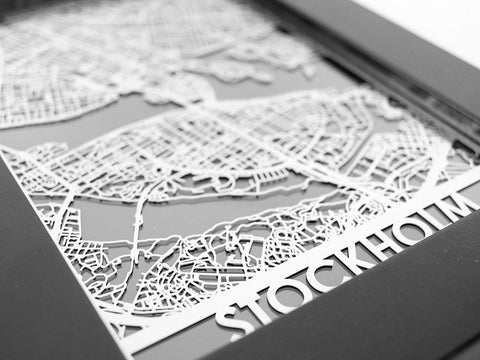"Stockholm - Stainless Steel Map - 5""x7"" - Cool Cut Map Gift"