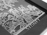 "Sydney - Stainless Steel Map - 5""x7"" - Cool Cut Map Gift"