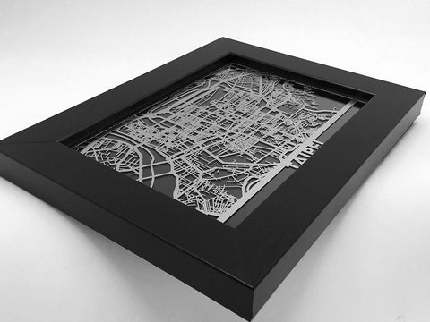 "Taipei - Stainless Steel Map - 5""x7"" - Cool Cut Map Gift"