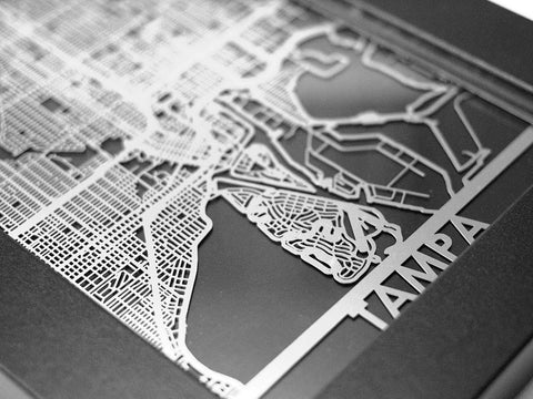 "Tampa - Stainless Steel Map - 5""x7"" - Cut Maps - 1"