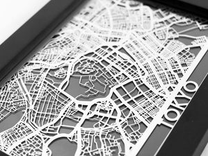 "Tokyo - Stainless Steel Map - 5""x7"""