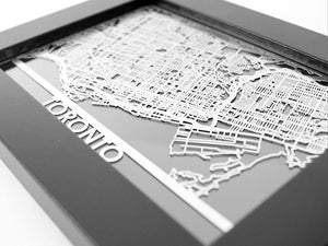 "Toronto - Stainless Steel Map - 5""x7"" - Cool Cut Map Gift"