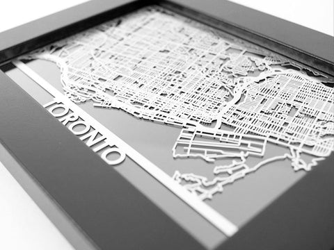"Toronto - Stainless Steel Map - 5""x7"" - Cut Maps - 1"