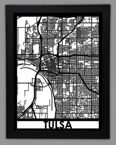 Tulsa - Cool Cut Map Gift
