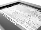 "Vancouver - Stainless Steel Map - 5""x7"" - Cool Cut Map Gift"