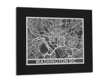 "Washington DC - Stainless Steel Map - 11"" x 14"" - Cut Maps - 1"