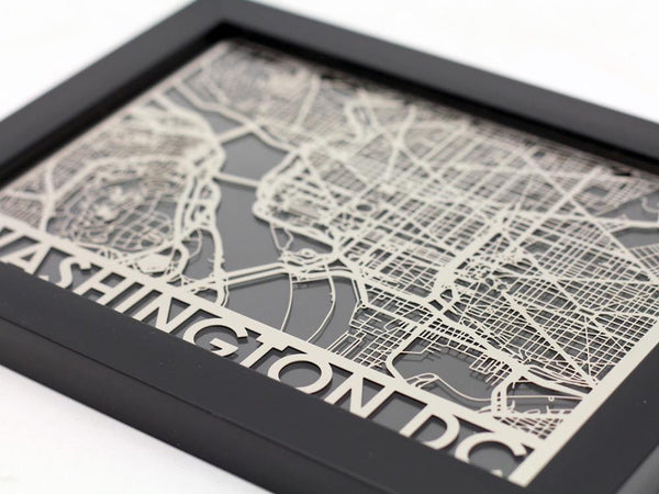 "Washington DC - Stainless Steel Map - 5""x7"" - Cool Cut Map Gift"